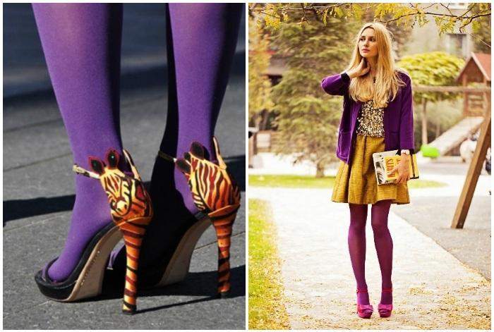 Фиолетовые колготки с босоножками