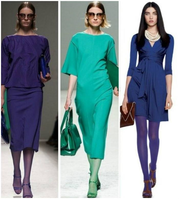 Босоножки с колготками и одеждой одинакового цвета