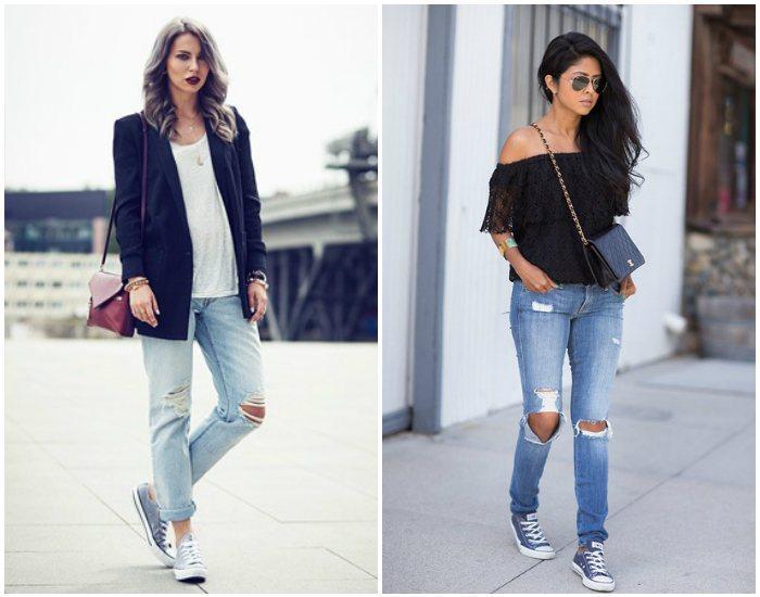 Джинсовые кеды и рваные джинсы