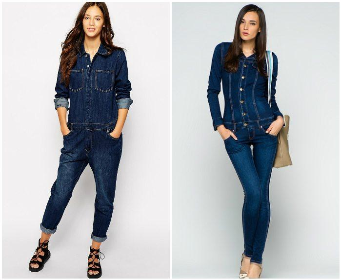 Темный джинсовый комбинезон для девушек