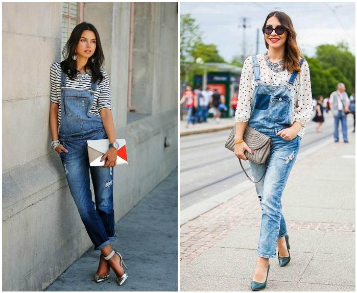Уличный образ с джинсовым комбинезоном