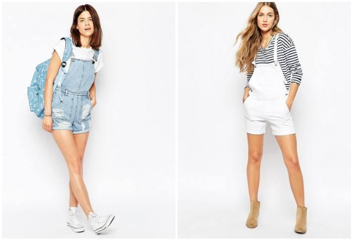 Светлый комбинезон-шорты из джинса