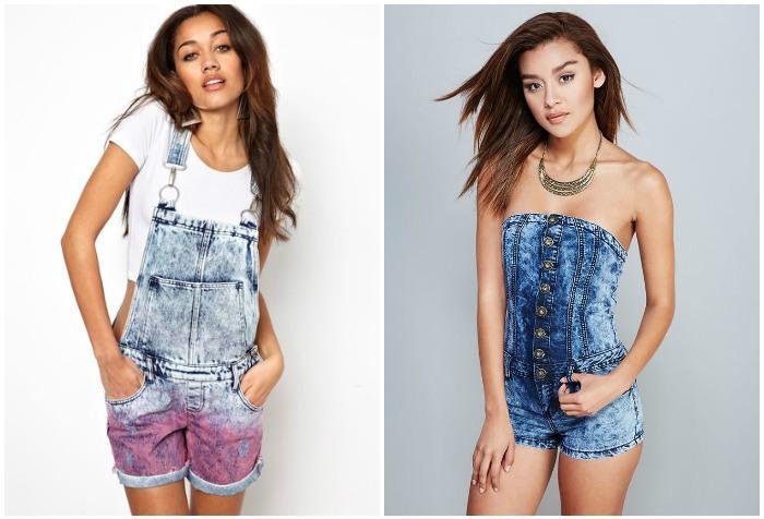 Шорты-комбинезон из джинса на моделях