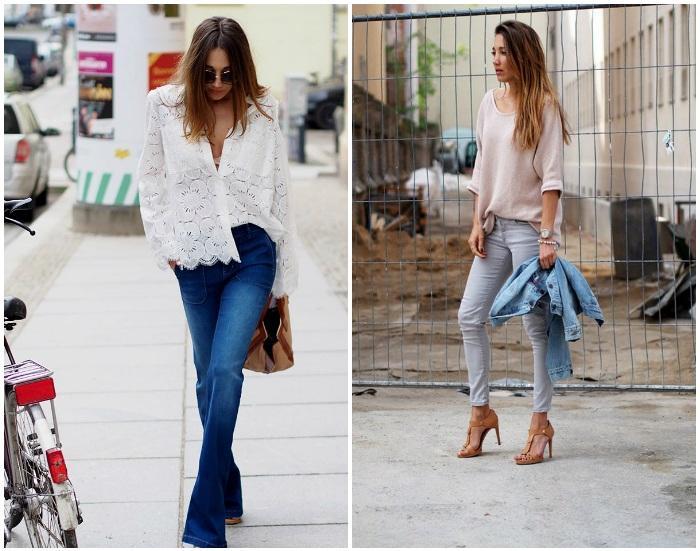 Нежный образ с джинсами