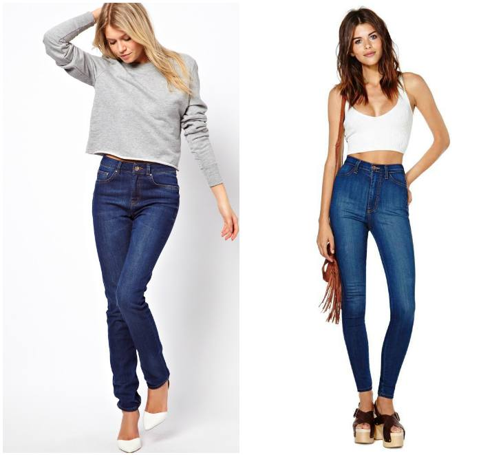 Сочетание завышенных джинсов с верхом