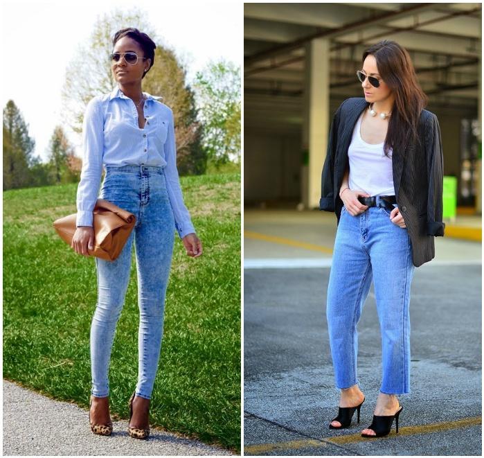 Уличный лук с джинсами на высокой талии