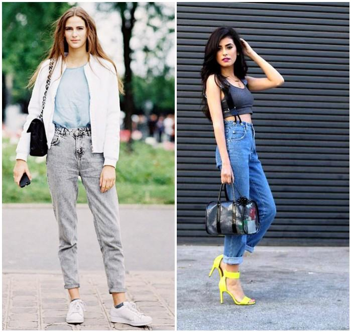 Модели в джинсах на высокой талии