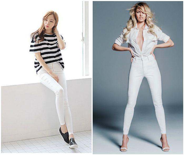 Белые джинсы с завышенной талией