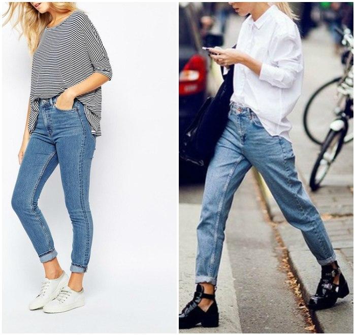 Повседневный образ с джинсами на высокой талии