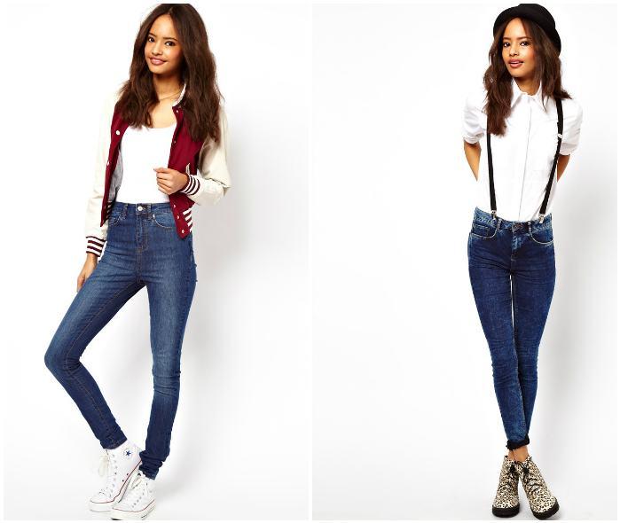 Варианты ношения узких джинсов с завышенной талией