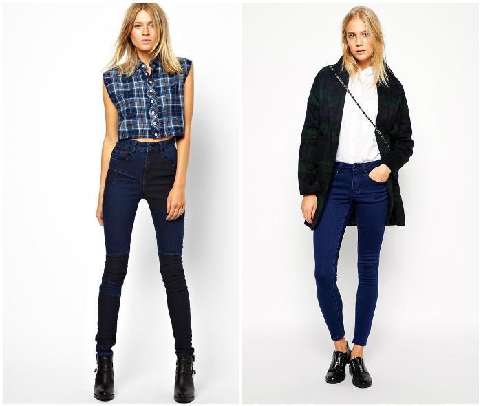 Темные джинсы с высокой талией