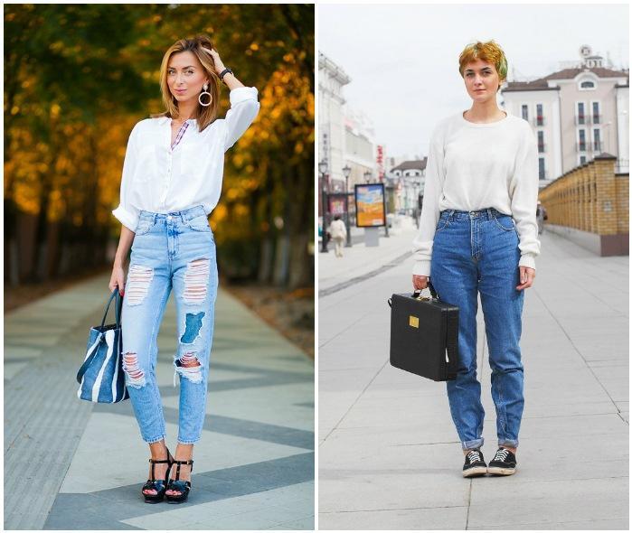 Уличный образ с джинсами на высокой талии