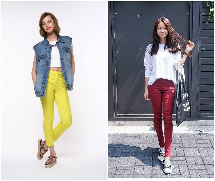 Яркие джинсы с завышенной талией