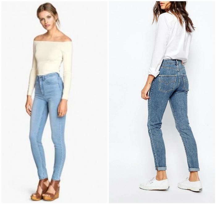 Завышенные джинсы со светлым верхом