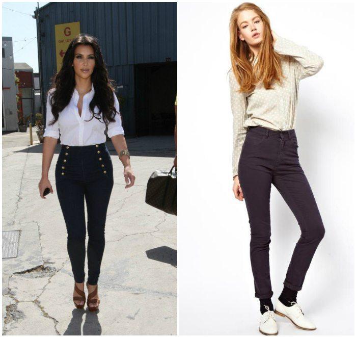 Темные завышенные джинсы с белым верхом