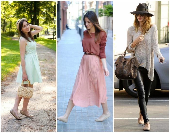 Сочетание одежды с бежевыми балетками