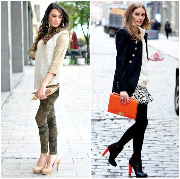 Сочетание одежды с обувью высоком каблуке