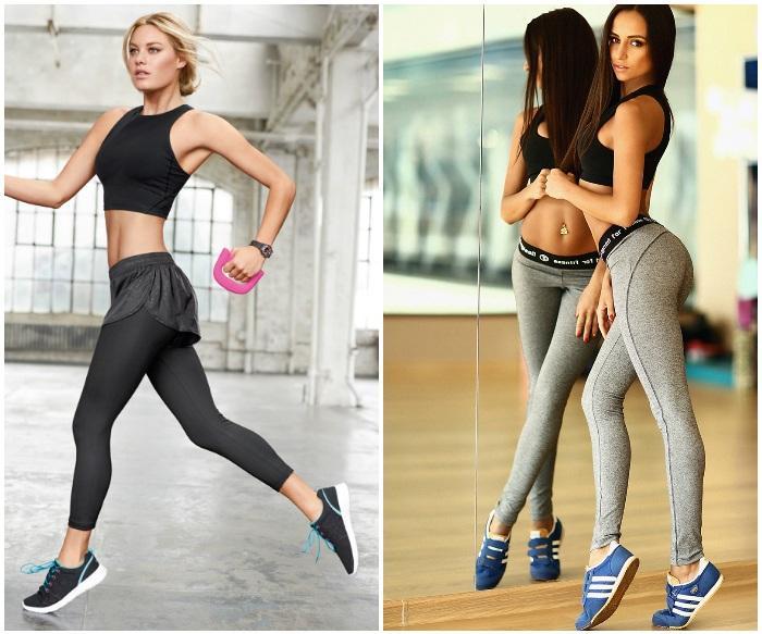 Девушки в кроссовках и спортивной одежде