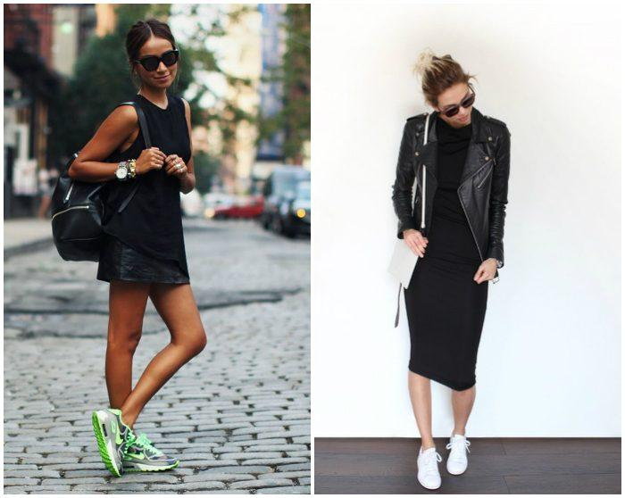 Кроссовки с черным платьем