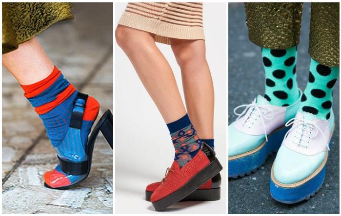 Яркие носки с обувью