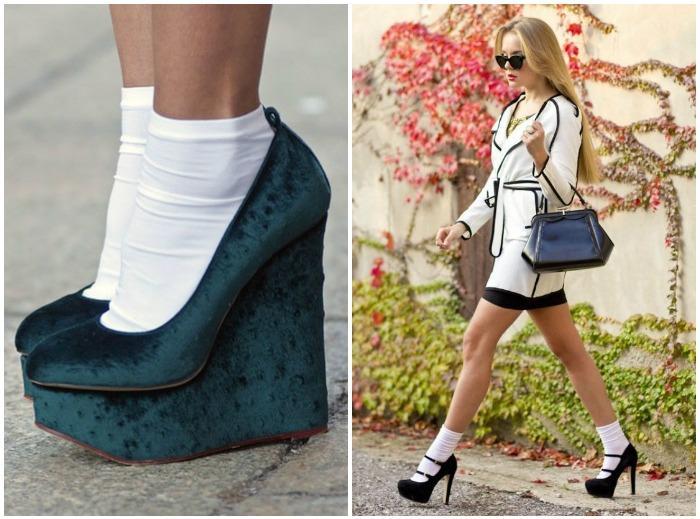Белые носки с туфлями на высоком каблуке