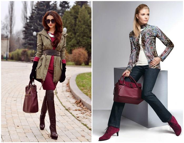 Бордовая сумка в сочетании с одеждой