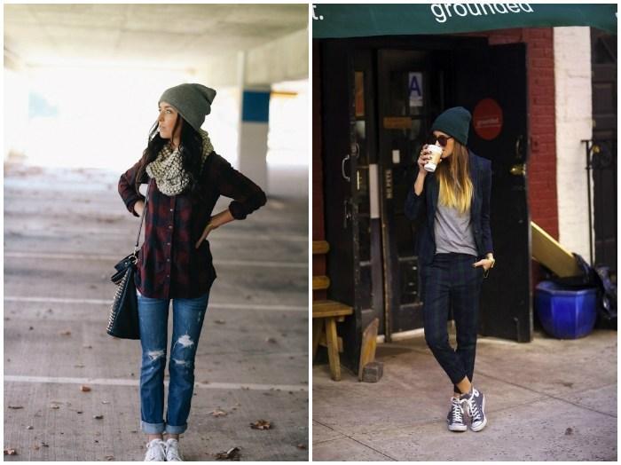 Образ с конверсами, джинсами и шапочкой