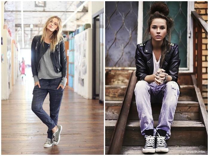 Кеды Сonverse с кожанкой и джинсами