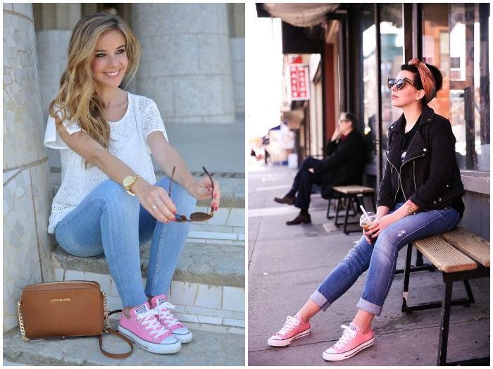 Лук с джинсами и розовыми кедами Сonverse