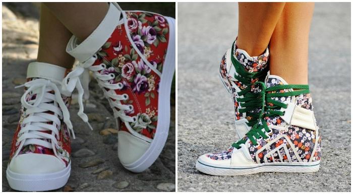 Высокие кеды с цветочным принтом на женских ножках