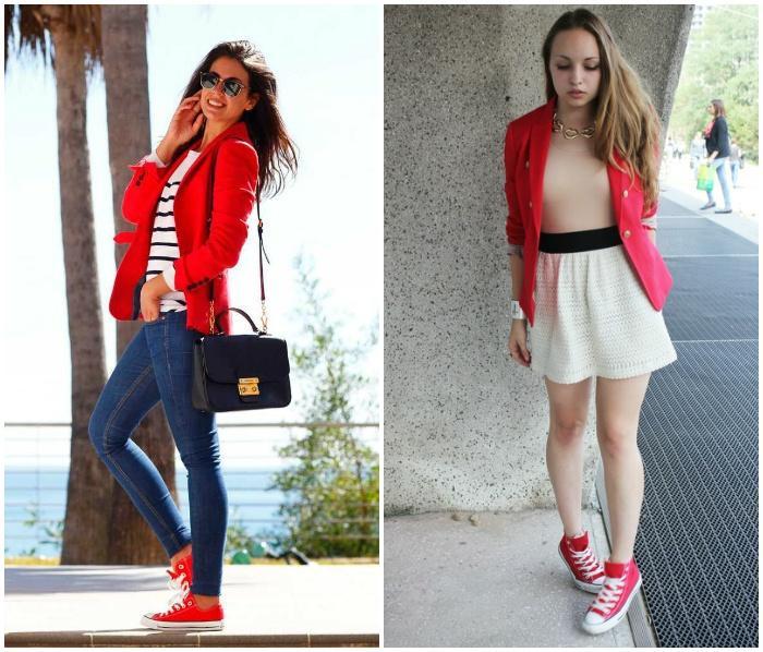 Красные кеды с красным пиджаком на моделях