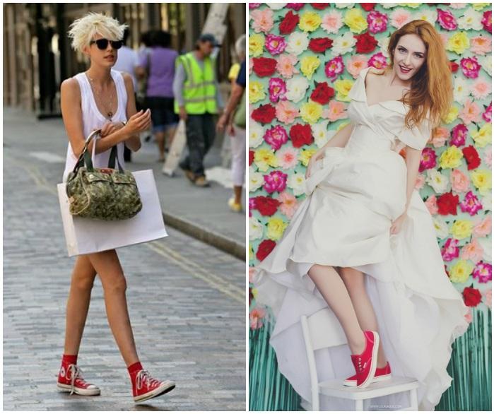 Сочетание красных кед с белым платьем
