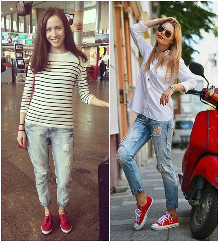 Сочетание красных кед с джинсами и свитшотом