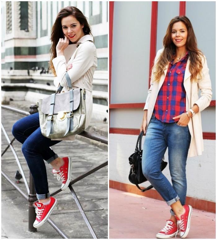 Красные кеды с джинсами и теплым верхом