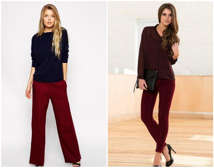 Темно-красные брюки на девушках