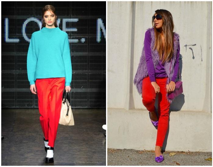 Модный лук с красными штанами