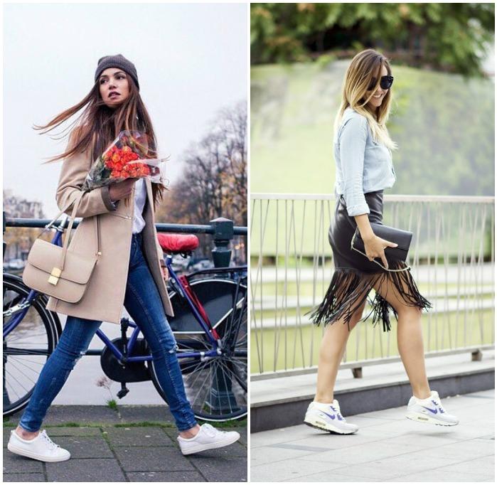 Повседневный образ с кроссовками и сумкой