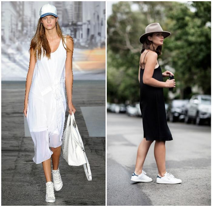 Повседневный образ с платьем и кроссовками
