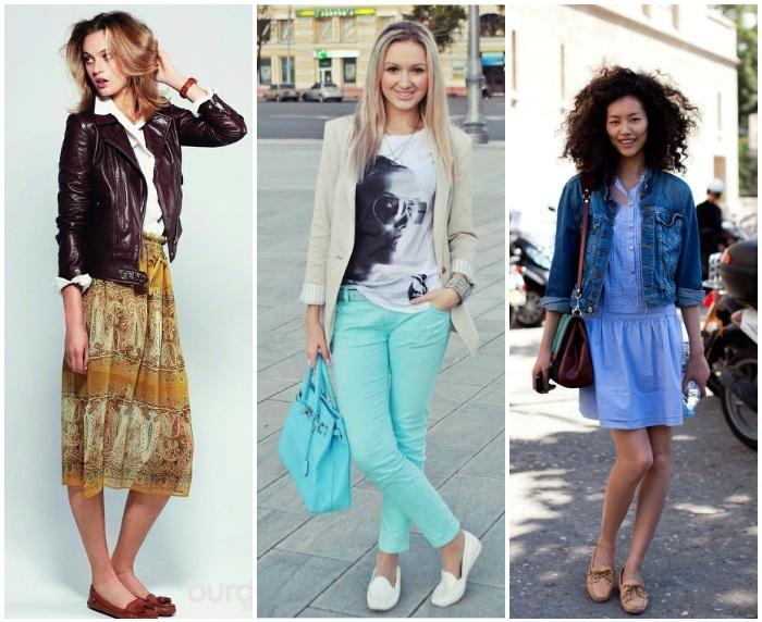Модное сочетание мокасин с элементами одежды