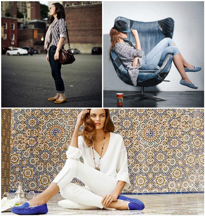 Сочетание мокасин с бриджами