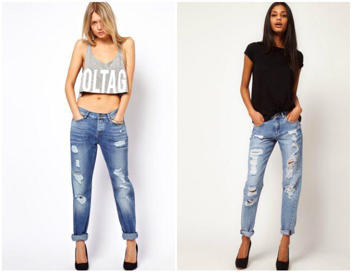 Стильные рваные джинсы на моделях