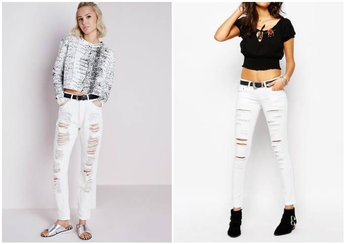 Белые рваные джинсы на моделях