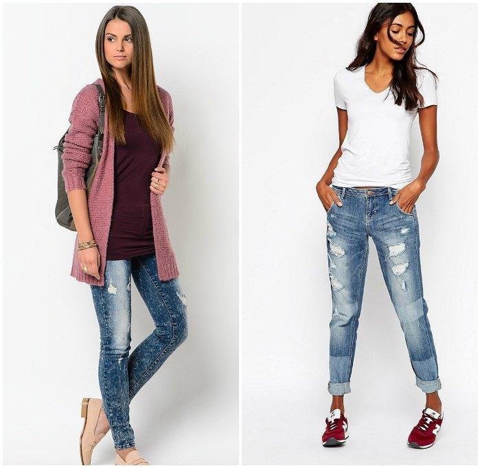 Образ с рваными джинсами для прогулки