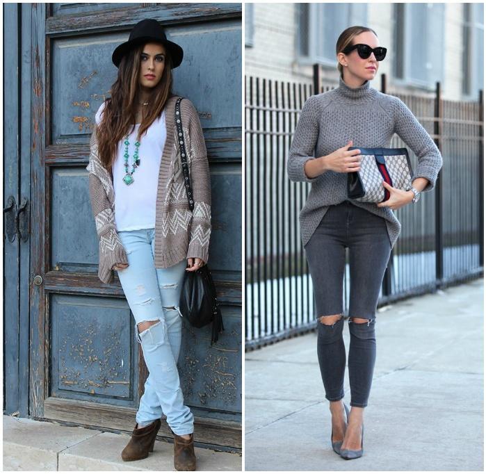 Теплый верх с рваными джинсами