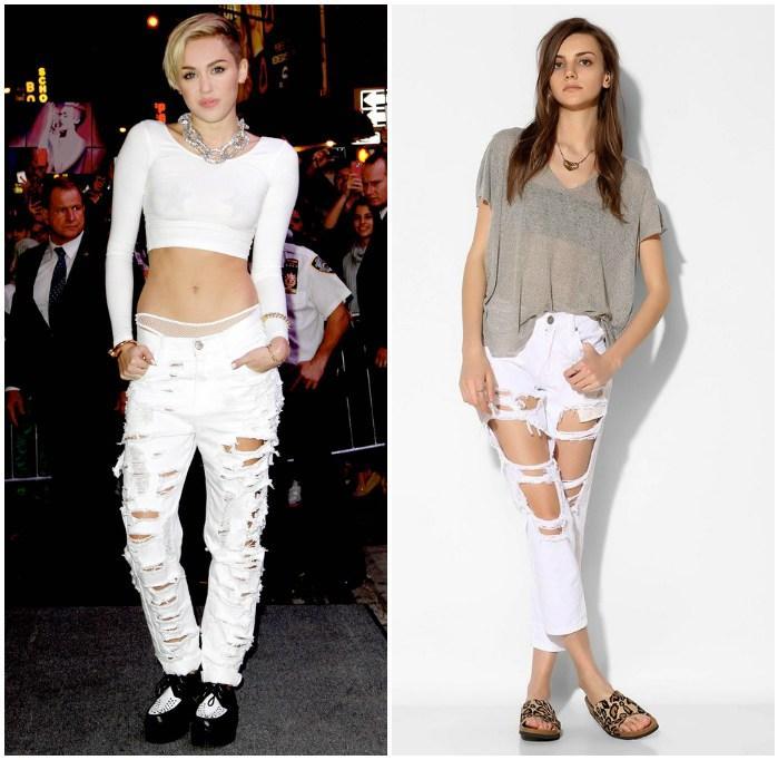Модный лук с рваными джинсами