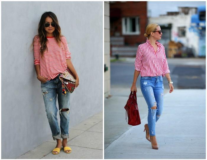 Романтичный образ с рваными джинсами и кофтой в полоску