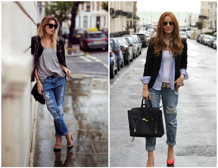 Уличный лук с пиджаком и рваными джинсами