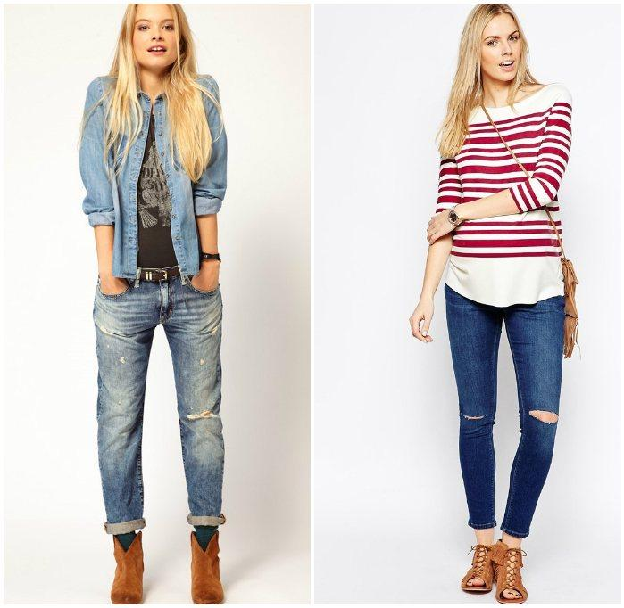 Стиль casual с рваными джинсами