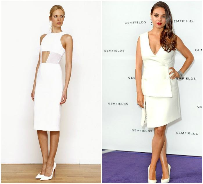 Сочетание белого платья и белых туфель