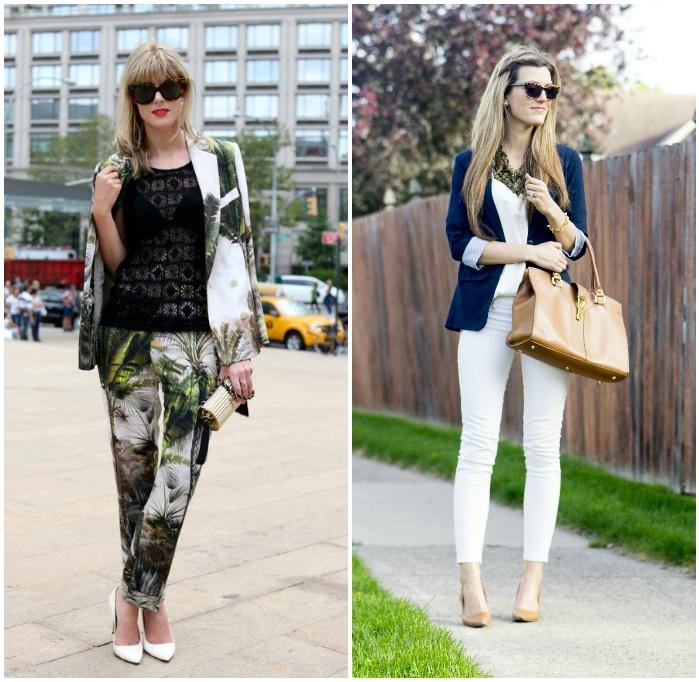Городской стиль с белыми брюками